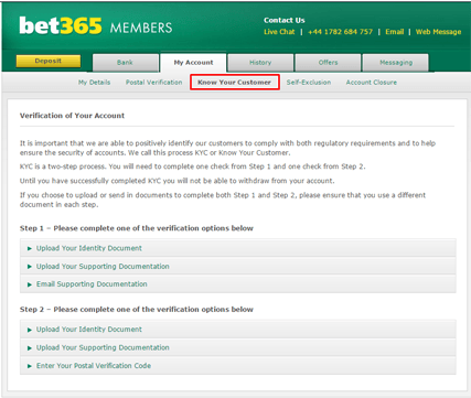 Bookmakers Account Verification