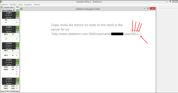 OddStorm navigation username error